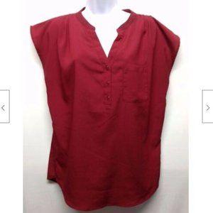 Women's Red V Neck Sleeveless Blouse M